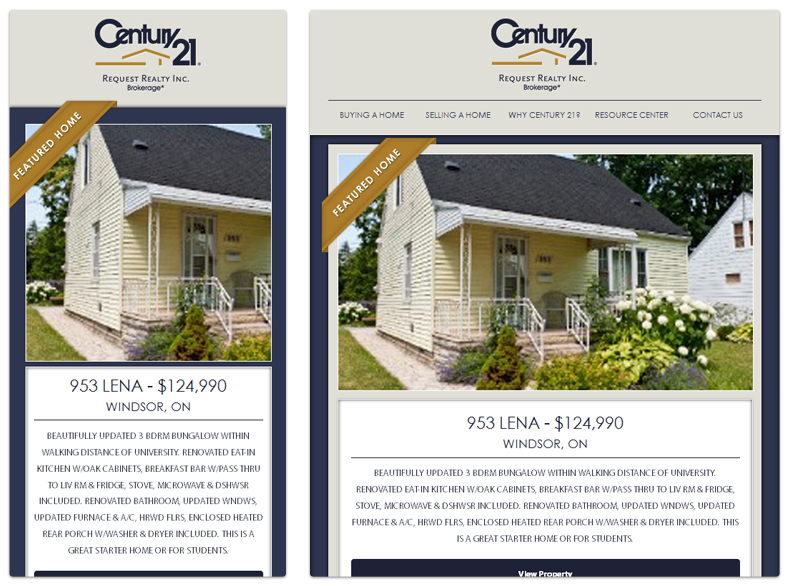 Century 21 - Request Realty - Windsor Ontario - Mobile Phone and Tablet View