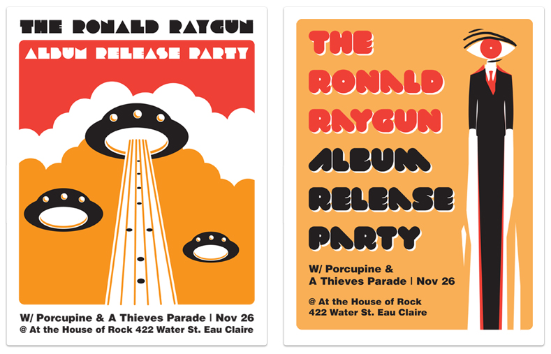 The Ronald Raygun: Album Release Party Posters