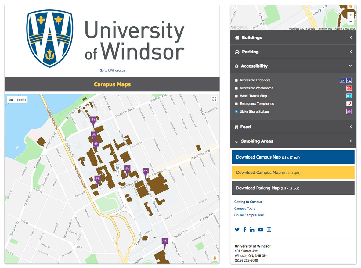 University of Windsor - Campus Map Re-Skin - Mobile