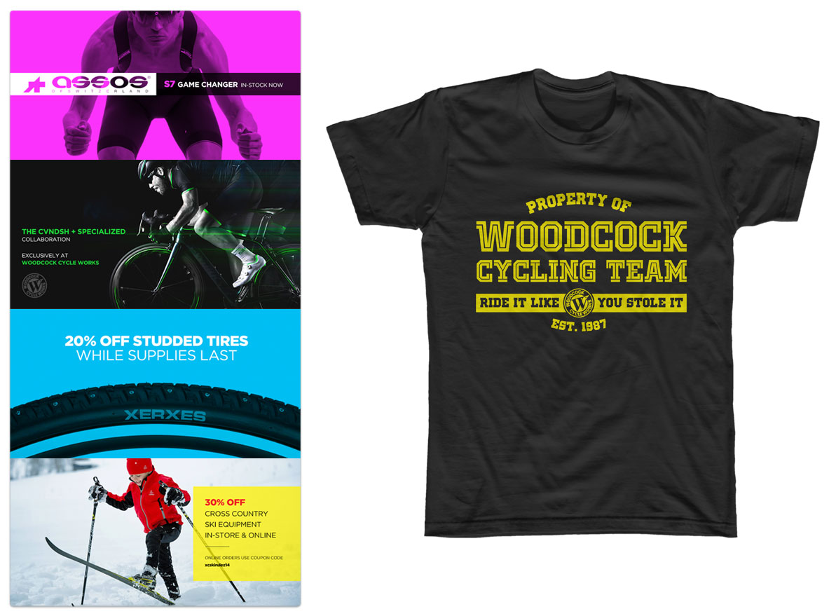 Woodcock Cycle Works - Website Re-design & T-Shirt Design